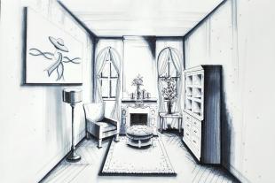 1pt perspective living room – pen marker
