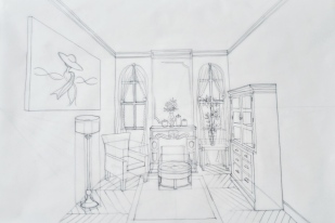 1pt perspective living room – pencil