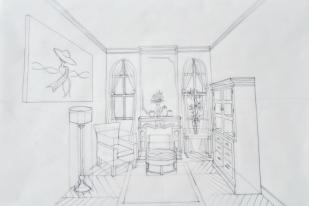 1pt perspective living room – pencil