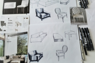 Free hand sketch – chairs 1
