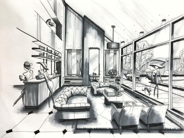 Sketch - living room pen and marker (1pt perspective)