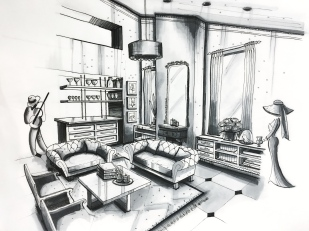 Sketch - living room pen and marker (2pt perspective)