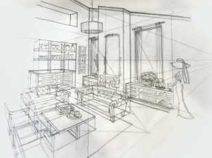 Sketch - living room pencil (2pt perspective)