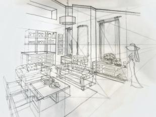 Sketch - living room pencil (2pt perspective)